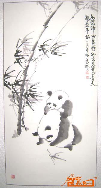 可爱熊猫黑白画